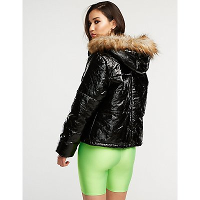 Hooded Faux Fur Trim Puffer Jacket