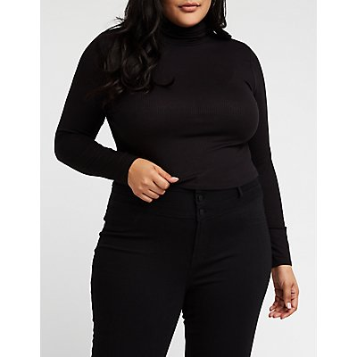 Plus Size Ribbed Turtleneck Top