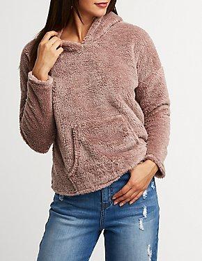 Faux Fur Pullover Hoodie