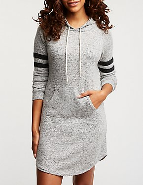 Varsity Stripe Hooded Sweater Dress