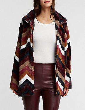 Chevron Faux Fur Coat