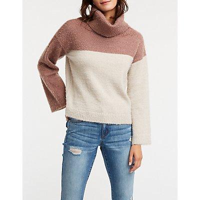 Color Block Cowl Neck Sweater