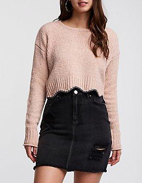 Metallic Ribbed Crop Sweater