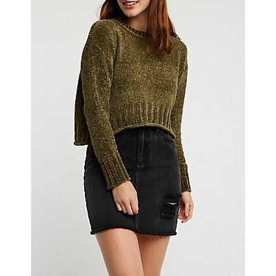 Chenille Crop Sweater