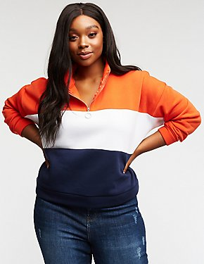 Plus Size Color Block Half  Zip Sweatshirt