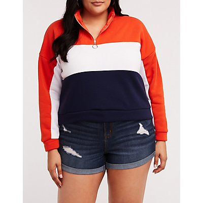 Plus Size Color Block Half  Zip Sweatshirt
