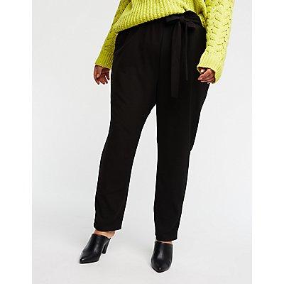 Plus Size Tie Front Trousers