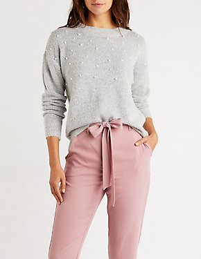 Pearl Accent Pullover Sweater