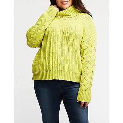 Plus Size Turtleneck Pullover Sweater