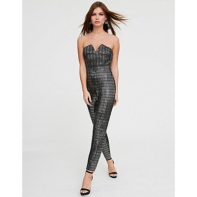 V Neck Sequins Jumpsuit
