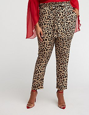 Plus Size Leopard Paperbag Trousers
