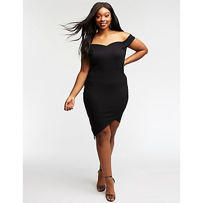 Plus Size Off The Shoulder Asymmetrical Dress