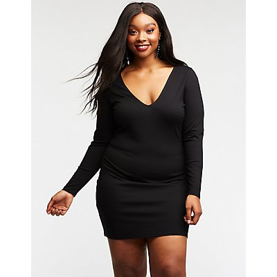 Plus Size V Neck Bodycon Dress
