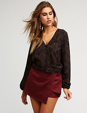 Printed Button Front Blouse