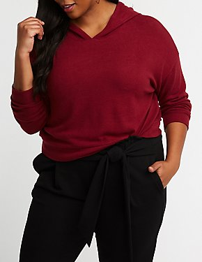 Plus Size Crop Hoodie Sweater