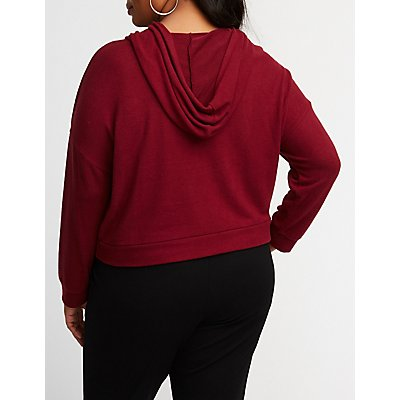 Plus Size Crop Hoodie Sweater