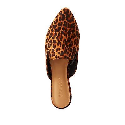 Leopard Metallic Heel Mule Flats
