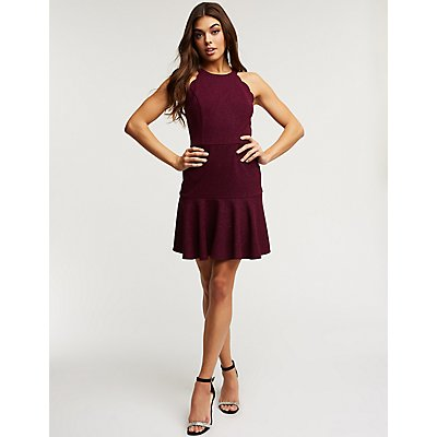 Glitter Scalloped Skater Dress