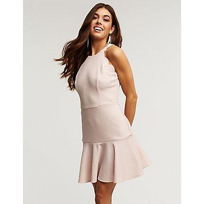 Glitter Scalloped Skater Dress