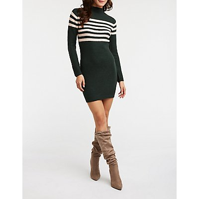 Stripe Bodycon Sweater Dress