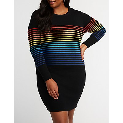 Plus Size Rainbow Striped Sweater Dress