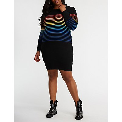Plus Size Rainbow Striped Sweater Dress