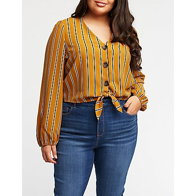 Plus Size Striped Button Up Blouse
