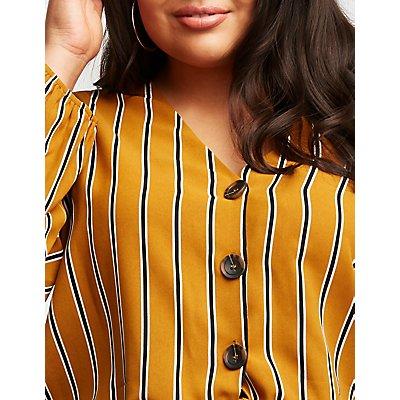 Plus Size Striped Button Up Blouse