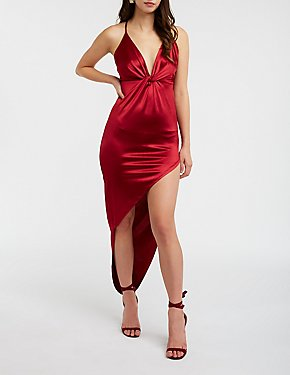 Satin Asymmetrical Bodycon Dress