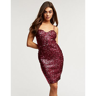 Sequin Bustier Bodycon Dress