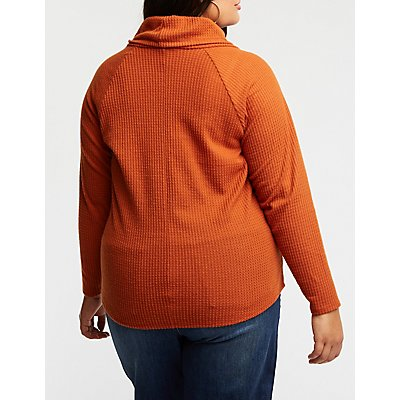 Plus Size Cowl Neck Knit Pullover Top
