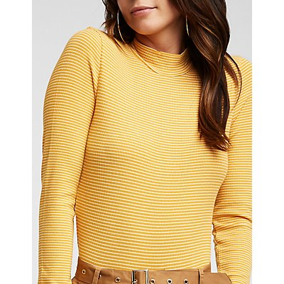 Striped Ribbed Mock Neck Tee