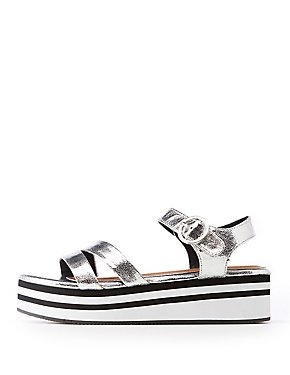 Metallic Platform Wedge Sandals