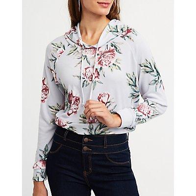 Floral Crop Hoodie