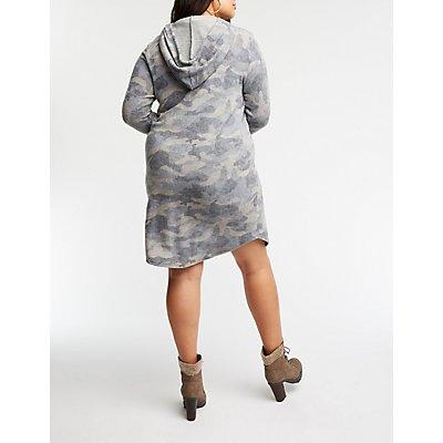 Plus Size Camo Hooded Dress