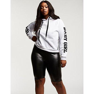 Plus Size Faux Leather Bike Shorts