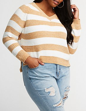 Plus Size Chenille Striped Pullover Sweater