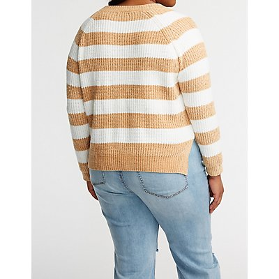 Plus Size Chenille Striped Pullover Sweater
