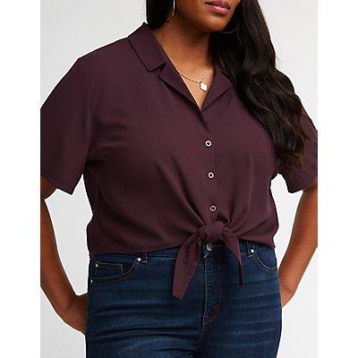 Plus Size Button Up Tie Front Top