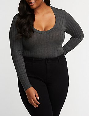 Plus Size Deep V Neck Bodysuit