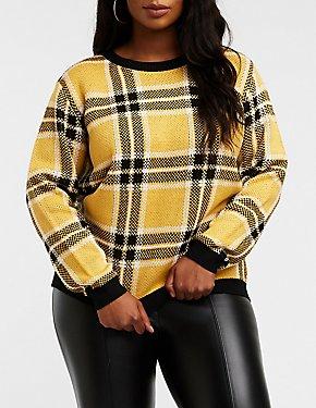 Plus Size Plaid Pullover Sweater