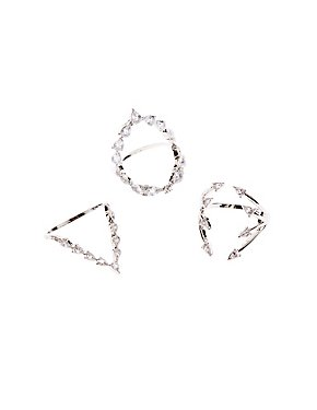 Crystal Stackable Rings - 3 Pack