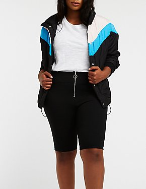 Plus Size O Ring Zipper Bike Shorts