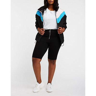 Plus Size O Ring Zipper Bike Shorts