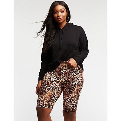 Plus Size Leopard Print Bike Shorts