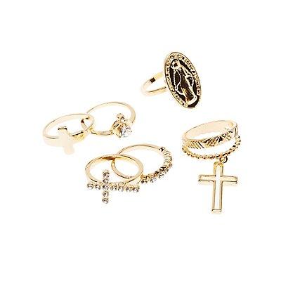 Cross Stackable Rings - 4 Pack