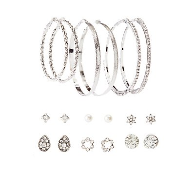 Stud & Hoop Earrings Set  - 9 Pack