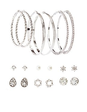 Stud & Hoop Earrings Set  - 9 Pack