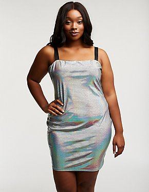 Plus Size Holographic Bodycon Dress
