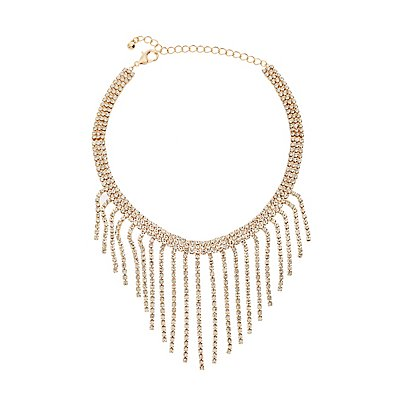 Crystal Fringe Choker Necklace